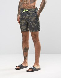 Asos Swim Shorts With Camo Print And Neon Drawcord In Mid Length Green