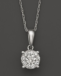 Bloomingdale's Diamond Cluster Pendant Necklace In 14K White Gold 1.0 Ct. T.W.