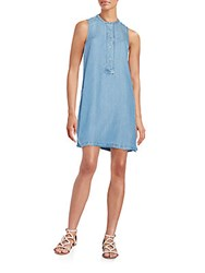 Beach Lunch Lounge Sleeveless Chambray Dress Medium Blue