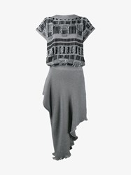 Loewe Cotton Frayed Asymmetric Knit Dress Grey