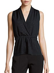 Collective Concepts V Neck Sleeveless Embellished Top Navy