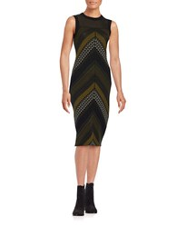 Rachel Roy Chevron Illusion Dress Avocado