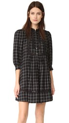 La Vie Rebecca Taylor Windowpane Plaid Dress Black