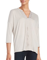 Lord And Taylor Pleated Split V Neck Tee Pearl Grey