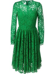 Dolce And Gabbana Floral Lace Flared Dress Green