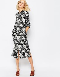 First And I First And I Filura Long Floral Shirt Dress Black White Multi