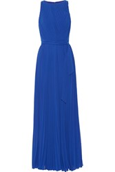 Badgley Mischka Pleated Georgette Gown Blue