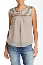Love Stitch Sequin And Rope Trim Blouse Gray