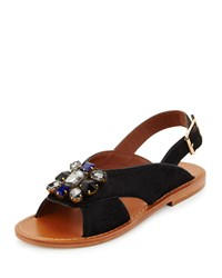 Marni Jeweled Calf Hair Flat Slingback Sandal Black Women's