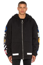 Off White Hoodie With Patches Black