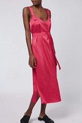 Hammered Satin Slip Dress By Boutique Bright Pink