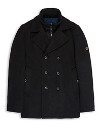 Ben Sherman Wool Blend Funnel Neck Peacoat Jet Black