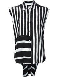 Tome Striped Sleeveless Shirt Black