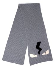 Fendi Monster Wool Scarf Grey Black Blue