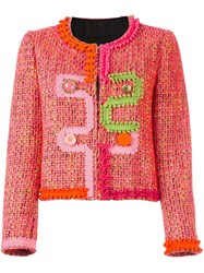 Boutique Moschino Textured Trim Jacket Pink And Purple