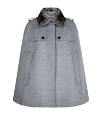Burberry Wolseley Fur Collar Wool Cashmere Cape Female Grey
