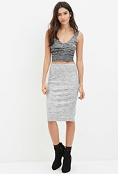 Forever 21 Marled Knit Pencil Skirt Grey Cream