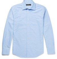Freemans Sporting Club Spread Collar Cotton Shirt Blue