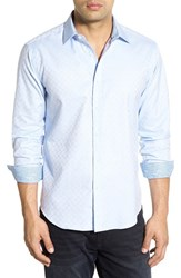 Bugatchi Men's Shaped Fit Solid Check Weave Sport Shirt Sky