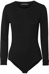 Jill Stuart Selma Ribbed Knit Bodysuit Black