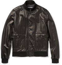 Valstarino Leather Bomber Jacket Black