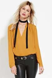 Forever 21 Contemporary Split Neck Blouse Mustard