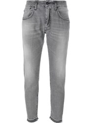 People People Stonewashed Cropped Jeans Grey