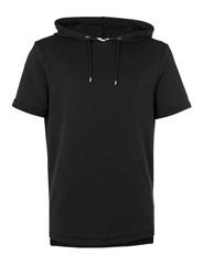 Topman Washed Black Short Sleeve Oversized Hoodie