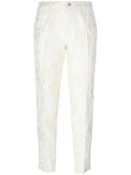 Ermanno Scervino Floral Brocade Trousers White
