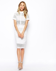 Asos Shirt Pencil Dress In Broderie White