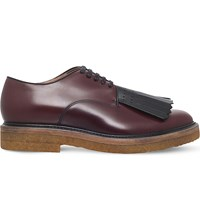 Dries Van Noten Fringed Leather Derby Shoes Wine
