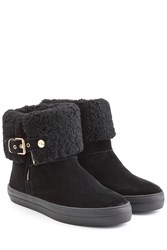 Burberry Shoes And Accessories Suede Boots With Sheepskin Lining Black