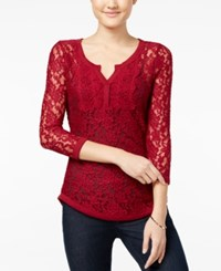 Almost Famous Juniors' Sheer Lace Henley Top Wine