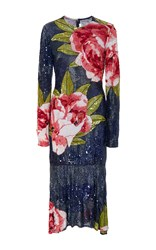 Naeem Khan Long Sleeve Floral Beaded Midi Dress Blue Pink Green
