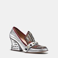 Coach High Vamp Loafer With Shield Silver Red