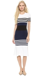 Yigal Azrouel Techno Stripe Knit Dress Belize Multi