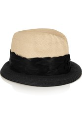 Eugenia Kim Craig Two Tone Woven Straw Trilby White