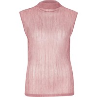 River Island Womens Metallic Pink Pleated Tank Top