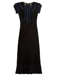 Rebecca Taylor Contrast Panel Lace Insert Dress Black Navy
