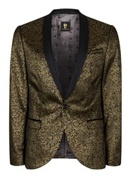 Topman Noose And Monkey Gold And Black Rose Print Blazer
