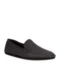 Bottega Veneta Woven Leather Outdoor Slipper Black