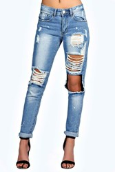 Boohoo Relaxed Fit Open Knee Boyfriend Jeans Blue