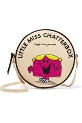 Olympia Le Tan Little Miss Chatterbox Appliqued Cotton Faille Shoulder Bag Cream