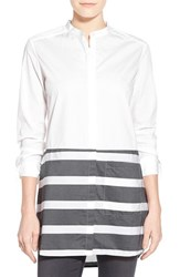 Women's Halogen Stripe Hem Cotton Tunic White Grey Stripe Colorblock