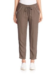 Splendid Crosshatch Cropped Pants Military Olive
