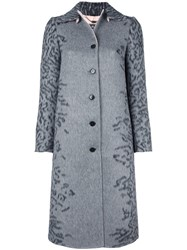 Salvatore Ferragamo Leopard Print Coat Grey