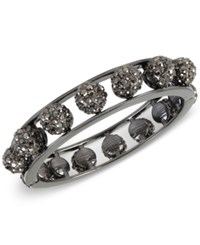 Inc International Concepts Hematite Tone Metallic Pave Orb Openwork Hinged Bangle Bracelet Only At Macy's Gray