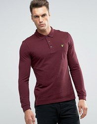 Lyle And Scott Long Sleeve Pique Polo Eagle Logo In Burgundy Marl Burgundy Marl Red