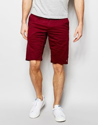 Farah Chino Shorts In Stretch Cotton Wine Red