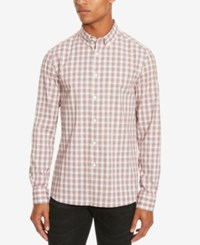 Kenneth Cole Reaction Men's Slim Fit Plaid Long Sleeve Shirt Sunset Orange Combo